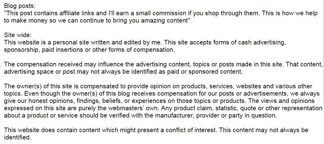 Advertising Disclosure Statement