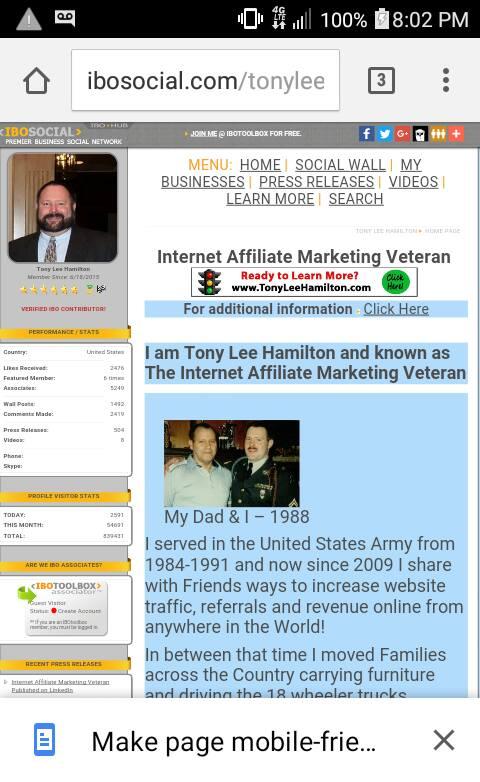 Internet Affiliate Marketing Veteran on IBOtoolbox / IBOsocial