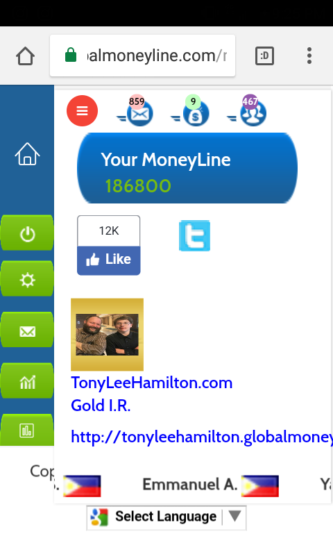 MoneyLine Dashboard Tony Lee Hamilton