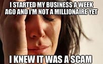 I knew it was a scam, scheme, pyramid, mlm, network marketing mentality of losers.